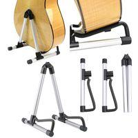 Wholesale New Aluminum Guitar bracket Black Silver Adjustable A Frame Electric Guitar Floor Stand Holder For Acoustic Guitar