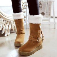 Wholesale High Quality Women Winter Snow Boots Mid Heel Plush Height Increased Mid Calf Half Boots Fashion Women Shoes Size