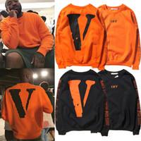 fleece clothing - 2016 Mens Hoodies orange Sweatshirts OFF Long fleece Tee White LOGO V in the hoody Long sleeved cotton shirt Clothing