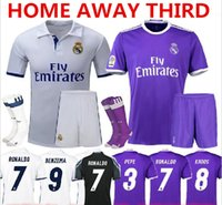 Wholesale 2016 Real Madrid Jersey Kits Uniform Home Away Third James Serigo Ramos Bale Real Kroos Ronaldo Jerseys Rugby Short Socks