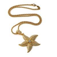 costume jewelry necklace - Latest Design Vacuum Studded Rhinestone Starfish Pendant Necklace K Gold Plated Chain Necklaces Hip Hop Costume Jewelry