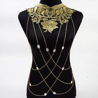 Wholesale Lace Flower Collares Gold Body Chains Sexy Women Hollow Out Big Gothic Necklace Multilayer Chain Elegant Party Jewelry