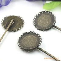 Bezel Lace Round Double 50pcs gros Antique Bronze Réglage Plateau Barrette Barrette trouver Blank Easy-faire des cheveux