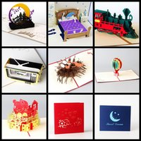 Wholesale Latest design Handmade D Pop UP Birthday Cards Happy new year card Valentine s gifts children s day creative greeting blessing gift card