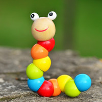 Wholesale 2016 Cute Insert Puzzle Kids Educational Wooden Toys Baby Children Fingers Flexible Training Science Twisting Worm Toys