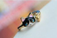 Wholesale Fashion Jewelry Punk Gold Plated Enamel Rhinestone Eye Cat Fish Midi Mid Ring Super Cute Personalized Mini Ring for Women Men