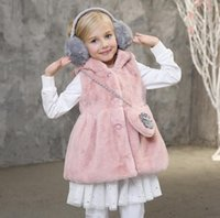 Wholesale Winter Thick Solid Baby Girl Vest With Hood Soft Warm Children Girl Vest Winter Clothes Pink Gray