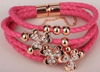 Wholesale Leather leaf clover charm bracelet cute fashion jewelry christmas thanksgiving holiday gifts for women girls LF02