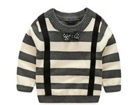Wholesale Fall new boy children small children s wear striped tie gentleman a cotton padded covering all head sweater