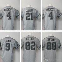Wholesale Limite Cowboys Tony Romo Jason Witten Dez Bryant Dak Prescott Ezekiel Elliott NEP Gridiron Gray Gridiron Grey Football Jerseys