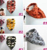 Wholesale 5styles Kids Thickening warm bibs Infant Autumn Winter Cartoon Character Animal print Burp Cloths Baby boy girl Feedings