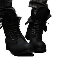 achat en gros de chaussures de combat rétro chaud-Gros-Hot! Retro Punk bottes de Winter Men Combat Angleterre style Casual chaussures d'expédition --Les