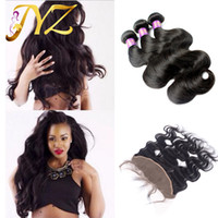 Wholesale 3 With Frontal Closure Ear To Ear With Baby Hair Bleached Knot Raw Indian Hair Body Wave x4 Lace Frontal With Bundles