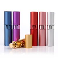 Wholesale 15ml small empty perfume spray bottles lipstick shape cosmetic liquid smart portable taking aluminum glass perfume refillable bottles
