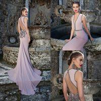 Ball Gown tarik ediz - Sexy Tarik Ediz Evening dresses Deep V Neck Sleeveless Mermaid Beaded Open Back Formal Prom Party Night Dress Custom Made