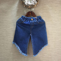 Wholesale children s clothing New summer Girls fringed edge jeans Tassel denim Cropped Trousers Jeans with good quality