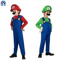 Wholesale Halloween Kids Children Super Mario Costume Suit Cosplay Theme Uniform Plumbers Overalls Cap Moustache Party Clothing Props Drop Shipping