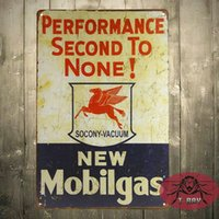 Wholesale NEW quot Mobilgas quot Performance Second To None Vintage Tin Sign Man Cave Hot Rod