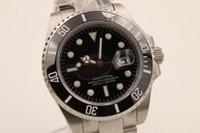 venda por atacado black dresses-Os homens luxuosos do relógio da marca de fábrica movimentam o bracelete cerâmico do vidro da safira do seletor do preto do diodo emissor de luz do bracelete 116610LN data o relógio de pulso dos homens