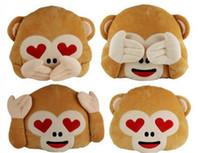 Wholesale 35 cm Cute Monkey Emoji Pillow Stuffed Plush Throw Pillows Chair Couch Cushion No Saying No Looking No Listening Monkey LJJP354