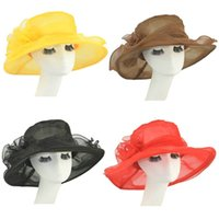 hair fall - 2016 New Fashion Women ladies Church Wedding Bridal hair hats Kentucky Derby Summer Wide Brim Hat Organza Female hats