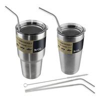 Wholesale HOT Metal Drinking Straw Beer Juice Straws Stainless Steel Straw Cleaning Brush Set Retail Packing Kit Fit Yeti Tumbler Rambler Cups