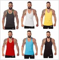 Wholesale Fashion New Summer style Gym Plain Tank Top Mens Bodybuilding Stringer Blank Vest Fitness Shirt Cotton Sleeveless Tops