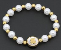 beaded lucky - 2016 New Fashion Lucky Bear Bracelet Women Jewelry k Gold Plated Bear Bracelet High Quality Imitation Pearl Bracelet Tous Bear Jewelry