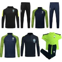 Bowling athletic training kits - Benwon Brazil soccer kit thai quality football jackets brasil full sleeve winter outdoor tracksuits athletic training long trousers