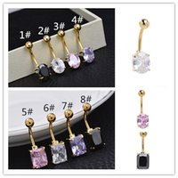 Wholesale Sparkling mm L Stainless Steel Belly Bell Button Ring Navel Bar Body Jewellery for women
