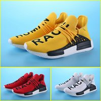 Wholesale Pharrell Williams X NMD Human Race yellow Primeknit Men s and Women s Running Shoes red light up sneaker