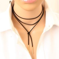 Wholesale Fashion unique personality Long black leather choker necklace collier femme Tube False choker Collar Necklace for Women accessories Gifts