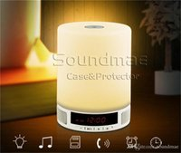 audio speaker switch box - Durable Hifi Wireless Mini Bluetooth Music Speaker Alarm Clock Touch Switch LED Night TF Card Audio Microphone L2 With Box