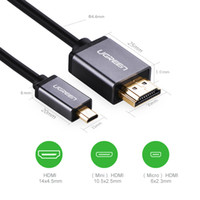 Wholesale Ugreen Micro HDMI to HDMI Cable Support P D Adapter for Phone Tablet HDTV Male to Male Gold plated Converter Cables m