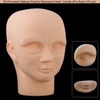 Wholesale 3D Permanent Makeup Eyebrow Lip Tattoo Practice Skin Mannequin Head with Eyes pcrts Eyes Lip for Training Mannequin Head