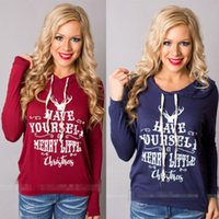 Wholesale Women Hoodie T shirt Long Sleeve Tops Christmas Letter Print Blouse Pullover Tee
