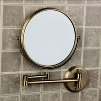 antique bathroom mirrors - High quality quot dual Antique Makeup mirrors x3 magnifier Copper Cosmetic Bathroom Double Faced Wall mounted Bath Mirror F
