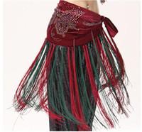 belly dance belt pattern - Ethnic Tribal Fusion Dance Wear Beads Belt Butterfly Pattern Print Velvet Fabric Long Tassel Women Belly Dance Hip Scarf