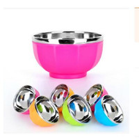 Wholesale 2016 New Hot Korean stainless steel cutlery drop resistance against hot bowl color suit children plastic double insulated bowl