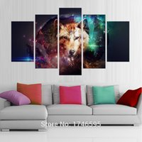 abstract collage paintings - 5pcs home decoration painting art for living room decor wolf collage space Wall Art Picture print canvas Painting art PT0233