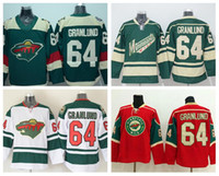 Minnesota Wild 64 Mikael Granlund Jersey Stade Série Hockey sur glace Maillots Mikael Granlund Equipe Couleur Rouge Vert Blanc Embroider Logos