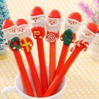 Wholesale christmas gift santa claus santa clay ballpoint pen stationery gift for children christmas gift polymer claus