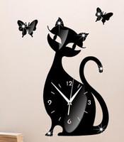 Wholesale diy mirror wall clock bedroom living room wall clock mute bell cartoon cute black cat Wall Stickers
