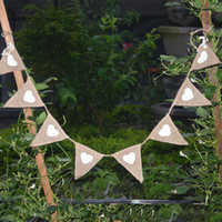 banner kit - Vintage Triangle pennant Jute Hessian Burlap Bunting Banner kit Wedding party Photography Props Decoration Design Your Own Banner Flags