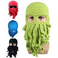 Wholesale Handmade Funny Animal Cthulu Beards Octopus Hats caps Crocheted Tentacle Beanies Men s Women s Unisex Halloween Birthday Gifts