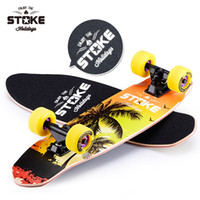 Wholesale 26 quot Maple Fish Plate Skateboard Fashional Wooden Skate Board Speed Cruiser Cool Four mm Upgraded Big Wheels Street Longboard