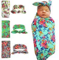 Wholesale baby sleeping European floral swaddle wrap blanket hats wraps blankets nursery bedding towelling baby infants wrapped towels printed flower