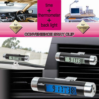 Wholesale Car air conditioning vent thermometer blue LCD Car Thermometer Time Clock Car vehicle electronic clock electronic watch