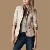 Wholesale High quality autumn and winter fashion female plaid wadded jacket outerwear women slim single breasted cotton down coat color