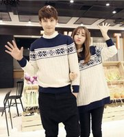 Wholesale Fashionable Geometrical Matching Christmas Sweaters for Couples Plus Size Snowflake Patterned Pullovers S XXXL